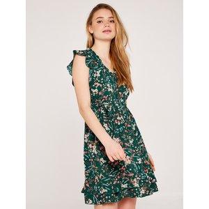 Apricot Green Botanical Ditsy Ruffle Dress  5051839569294size16