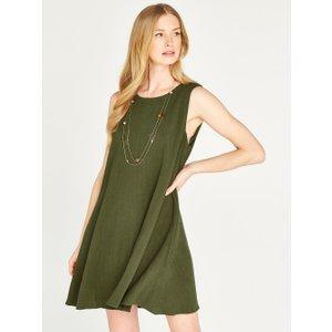 Apricot Green Linen Sleeveless Mini Dress  5051839450561size18