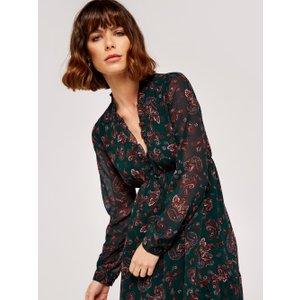 Apricot Green Paisley Ruffle Mini Dress  5051839538535size16