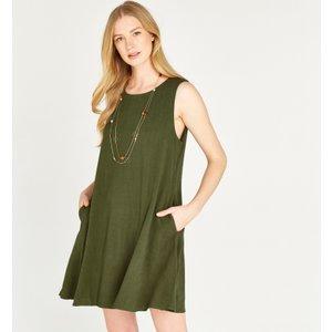 Apricot Green Linen Sleeveless Mini Dress  5051839450561size10