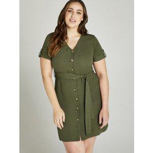 Apricot Khaki Button Down Utility Dress +  5051839396760size20