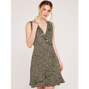 Apricot Khaki Ditsy Ruffle Wrap Dress  5051839533929size14