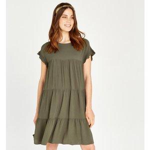 Apricot Khaki Ruffle Tiered Mini Dress  5051839465329size12