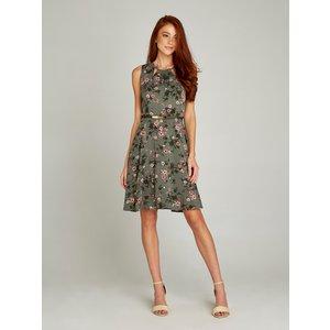 Apricot Khaki Shadow Floral Cutout Belted Dress  5051839212671size16
