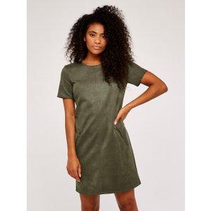 Apricot Khaki Suedette 2 Zip Pocket Shift Dress  5051839525245size14