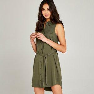 Apricot Khaki Tie Waist Utility Dress  5051839218871size12