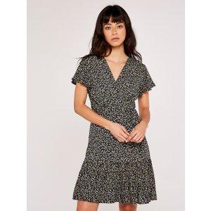 Apricot Navy Ditsy Floral Wrap Mini Dress  5051839514232size8