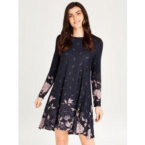 Apricot Navy Graphic Border Floral Print Dress  5051839489288size10