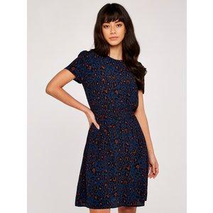 Apricot Navy Shirred Waist Animal Print Dress  5051839529663size18
