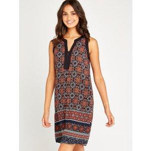Apricot Navy Tile Border Print Shift Dress  5051839448865size14