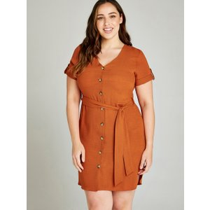 Apricot Orange Button Down Utility Dress +  5051839396821size24