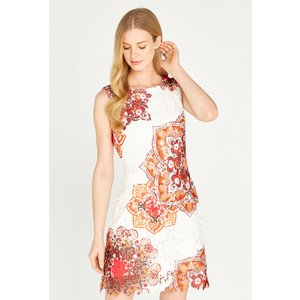 Apricot Orange Mandala Lace Shift Dress  5051839450387size18