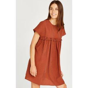 Apricot Rust Ruffle Babydoll Mini Dress  5051839488168size10