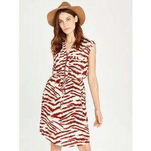 Apricot Rust Zebra Zip Front Utility Dress  5051839450684size14