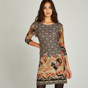 Apricot Stone Paisley Folk Border Tunic Dress  5051839209374size12