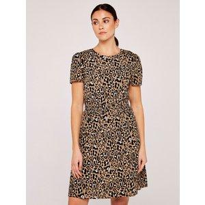 Apricot Stone Shirred Waist Animal Print Dress  5051839529601size18