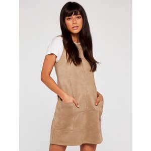 Apricot Stone Suedette 2 Patch Pocket Shift Dress  5051839523760size12