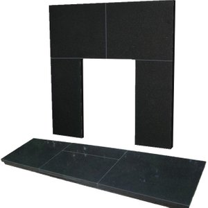 The Gallery Collection 48 Inch X 15 Inch Slabbed Black Granite Hearth And Back Panel Set