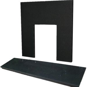 The Gallery Collection 54 Inch X 15 Inch Curved Black Granite Hearth And Back Panel Set