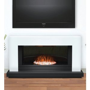 Axon Carrera Black & White Freestanding Electric Fireplace Suite
