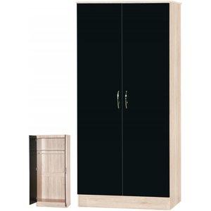 Alpha Black Gloss & San Oak 2 Door Standard Wardrobe