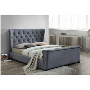 Barkley Fabric Bed Grey Velvet