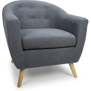 Blue Grey Chenille Effect Button Back Deep Tub Chair