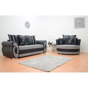 Chloe 3 Seater Fabric Sofa & Cuddle Chair - Black & Grey