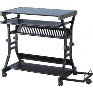 Cori Computer Desk In Black Glass & Black
