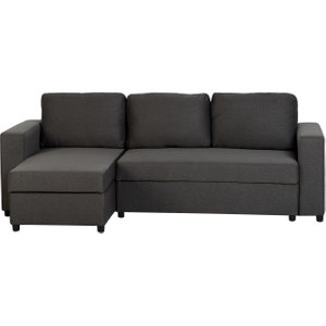 Flora Corner Sofa Bed In Dark Grey Fabric