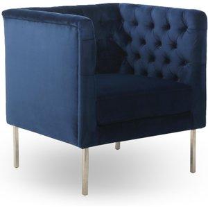 Indigo Blue Brushed Velvet Duchess Square Edge Armchair