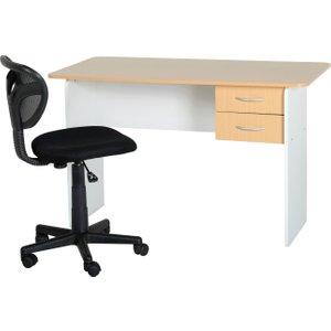 Jenny 2 Drawer Study Desk In Beech & White