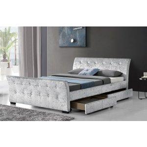Madrid Sleigh 4 Drawer Velvet Bed Frame