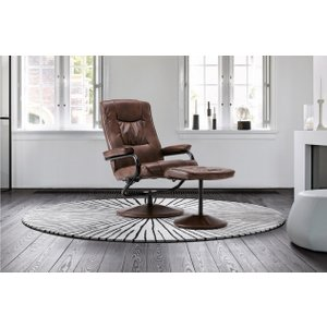 Memphis Swivel Chair And Footstool Tan