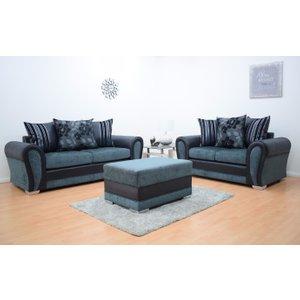 Paris Fabric 3 & 2 Footstool - Black & Grey