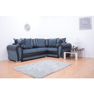 Paris Fabric Double Arm Corner Sofa - Black & Grey