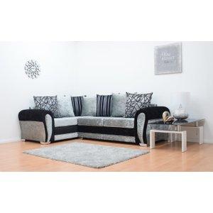 Paris Velvet Double Arm Corner Sofa - Black & Silver