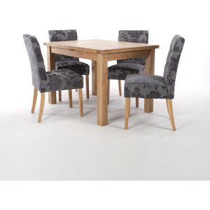 Solid Oak Extendable Dining Table With 4 Stitched Waffle Back Chairs In Damask Effect Anti
