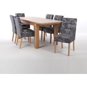 Solid Oak Extendable Dining Table With 6 Stitched Waffle Back Chairs In Oatmeal Tweed Effe
