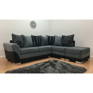 Vermont Fabric One Arm Corner Sofa - Black & Grey