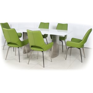 White High Gloss Dining Table With 4 Grass Green Leather Effect Swivel Chairs