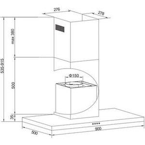 Amica Okp931t 90cm Box Style Chimney Hood In St Steel 3 Speed Fan