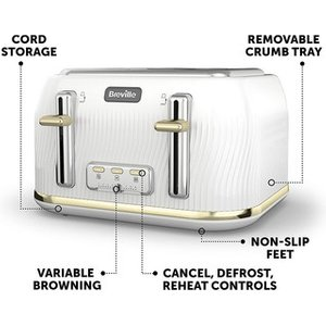 Breville Vtt976 Flow 4 Slice Toaster In White Gold