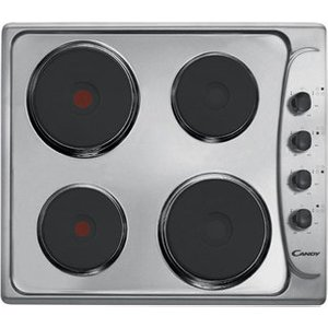 Candy Cle64x 60cm 4 Zone Solid Sealed Plate Electric Hob In St Steel