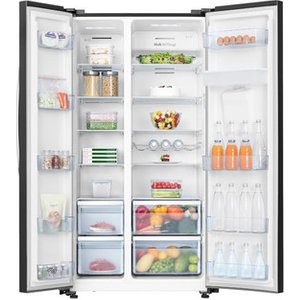 Hisense Rs741n4wb11 American Style Fridge Freezer In Black A Energy