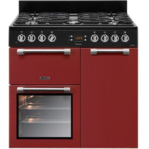 Leisure Ck90f232r 90cm Cookmaster Dual Fuel Range Cooker In Red