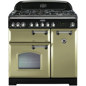 Rangemaster 100880 90cm Classic Deluxe Dual Fuel Olive Green Chrome Tr