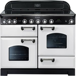Rangemaster 113110 110cm Classic Deluxe Induction In White Chrome