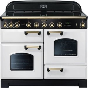 Rangemaster 113120 110cm Classic Deluxe Induction In White Brass