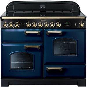 Rangemaster 114140 110cm Classic Deluxe Ceramic Range Blue Brass